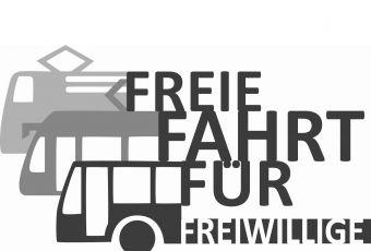 Logo zur Kampagne: Zug und Bus, Schrift: Freie Fahrt für Freiwillige